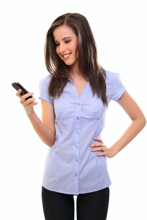woman cell phone: happy brunette woman writing message