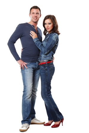 red jeans: picture of a handsome man with a sexy woman