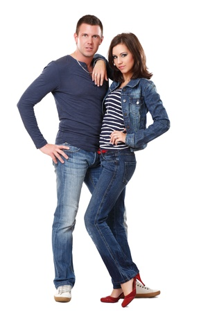 young nice couple posing on white background Stock Photo - 10933309