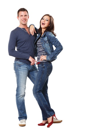 red jeans: picture of a happy young couple