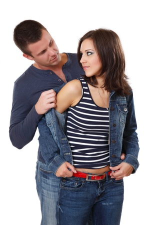 portrait of a nice young couple in studio photo