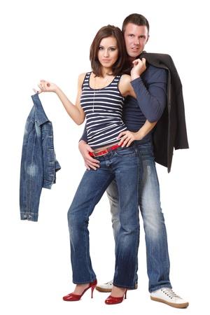 young couple posing in studio photo