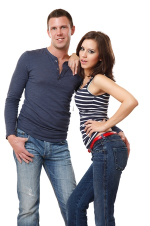 nice young couple posing in studio photo