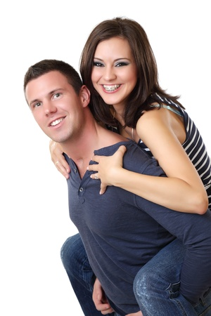 braces: portrait of a nice young couple in studio Stock Photo