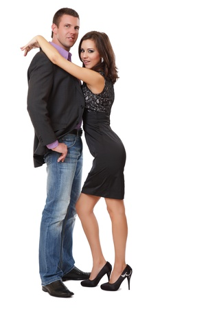 hombre flaco: feliz pareja elegante posando en el estudio Foto de archivo