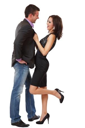 nice elegant couple posing on white background photo