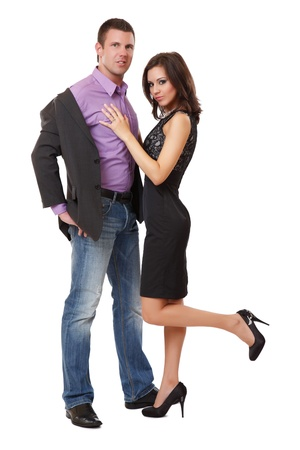 sexy elegant couple posing in studio Stock Photo