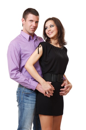 femme brune: portrait d'un gentil couple �l�gant