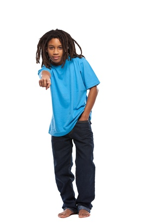 young rasta boy pointing in studio Stock Photo - 11453471