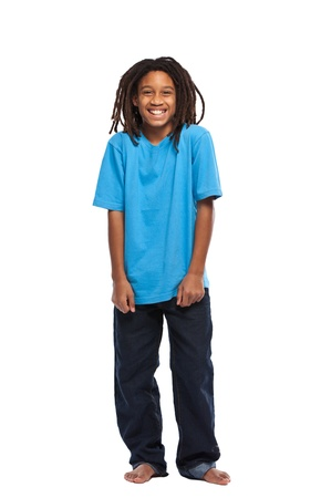 blue jeans kids: young african boy standing in studio