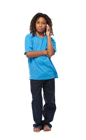 young african boy posing with cellphone isolated on white photo
