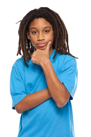rasta: young african boy thinking in studio