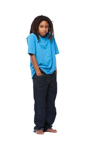 child sad: young african rasta boy in studio Stock Photo