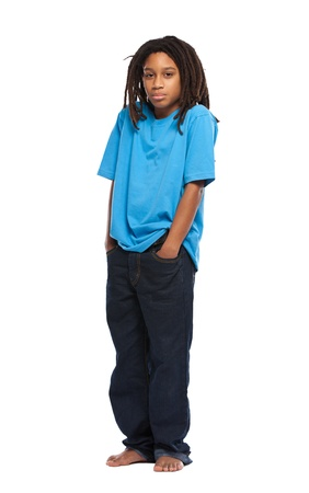 child sad: young guy standing in studio