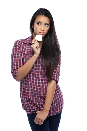 businesscard: asian woman with white businesscard Stock Photo
