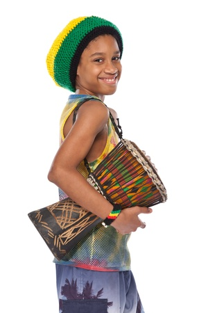 young afro rasta man with his conga Stock Photo - 11453497