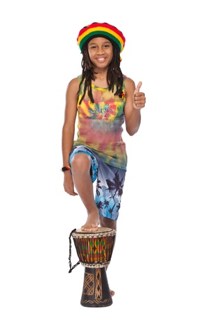 young happy rasta boy in studio photo
