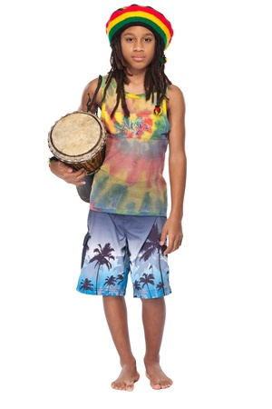 young rasta man with conga isolated on white photo