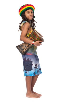 young rasta guy isolated on white photo