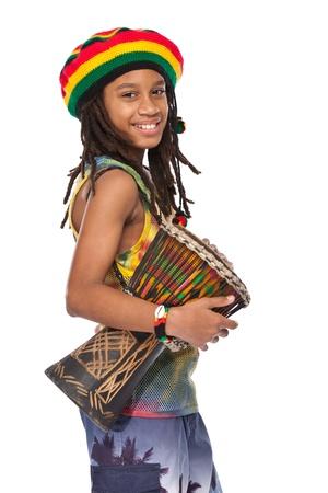 rasta boy portrait with conga Standard-Bild