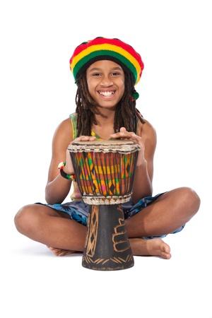 reggae: l'homme rasta jeune isol� sur blanc Banque d'images