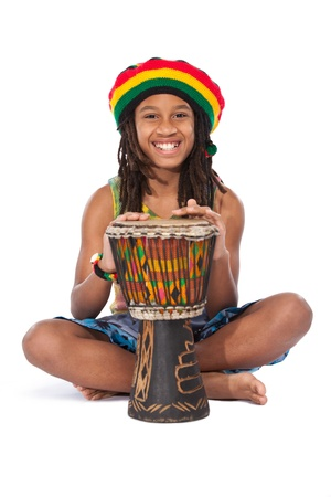 young rasta man isolated on white photo