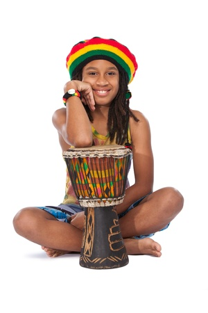 young afro rasta man with his conga photo