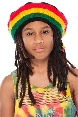 rasta: young afro man portrait isolated on white