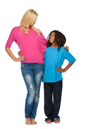 young rasta boy with blonde woman in studio photo