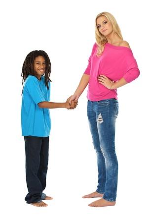african american handshake: lovely friendship in studio
