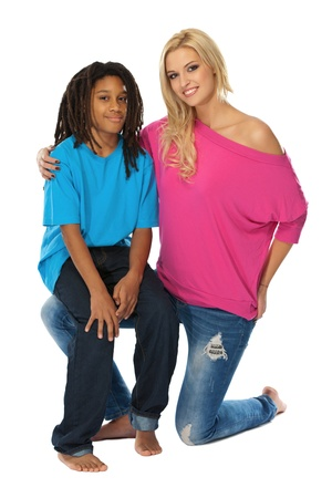 two nice model posing in studio photo