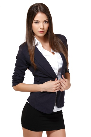 beautiful brunette woman isolated on white Stock Photo