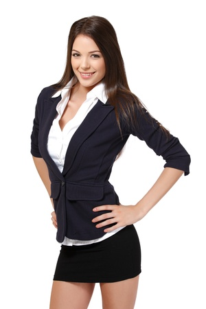 skirt suit: nice woman isolated on white Stock Photo