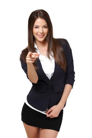 schöne Geschäftsfrau isoliert auf weiß