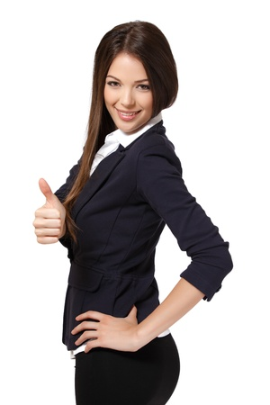 mini falda: mujer linda con el pulgar arriba, aislado en blanco