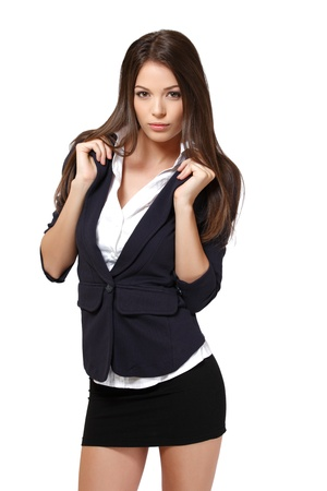 skirt suit: beautiful businesswoman isolated on white Stock Photo
