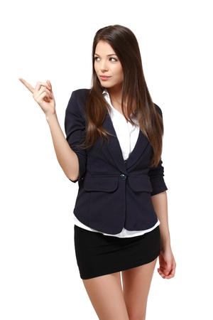 mini jupe: belle femme isol� sur blanc Banque d'images