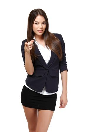 mini jupe: belle femme isolée sur fond blanc Banque d'images