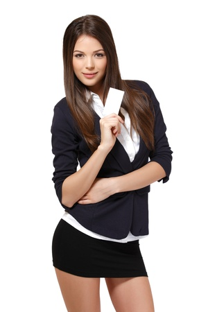 woman hold a blank businesscard, isolated on white photo