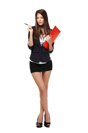 beautiful businesswoman with red folder and pen standing in studio