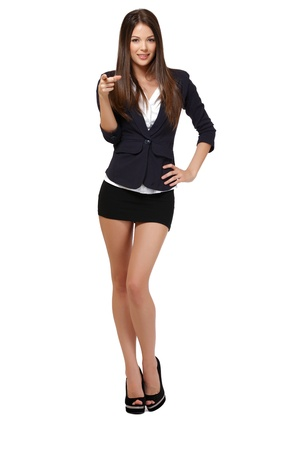 mini skirt: nice woman isolated on white Stock Photo