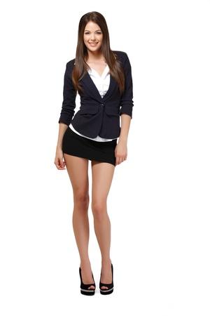mini falda: empresaria bonita aislado en blanco
