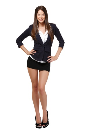 mini falda: mujer feliz aislado en blanco