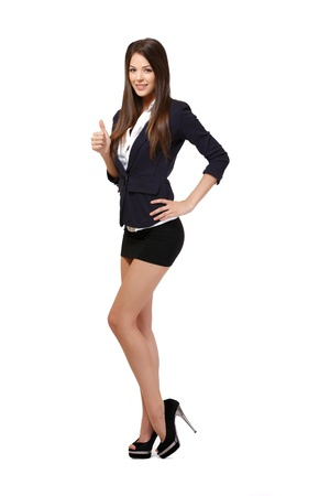 legs heels: happy woman isolated on white