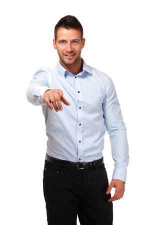 schöner Mann isoliert auf weiß Standard-Bild