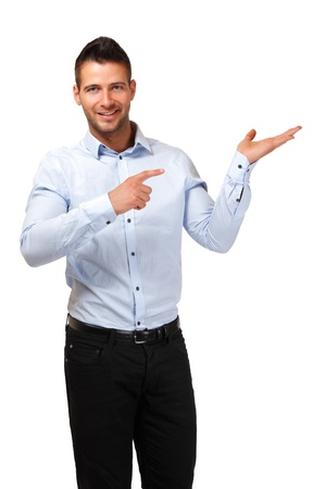 young adult man posing on white background photo