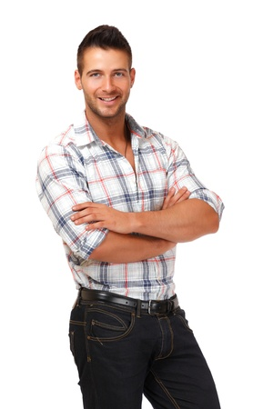 glücklicher Mann isoliert auf weiß Standard-Bild