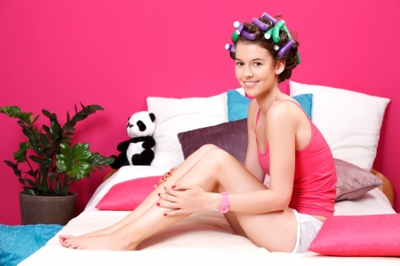 young woman waiting for dry nails Stock Photo - 14013905