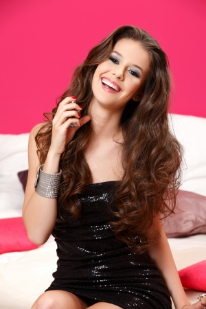 perfect hair, make up, dress, scent, smile photo