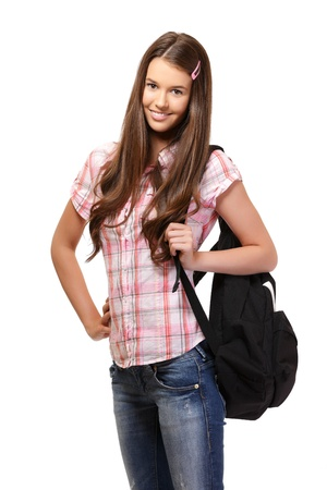 nice schoolgirl posing in studio photo
